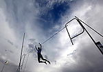 Cheyenne Easts's Ryan Mehalick clears 12 feet 9 inches during the pole vault competition at the South High School Twilight Track Meet Thursday afternoon. Michael Smith/Staff