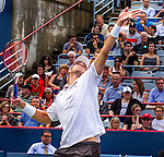 John Isner (USA) loses to Jeremy Chardy (FRA) 6-7, 7-6, 7-6,  at the Rogers Cup in Montreal, Canada on August 14, 2015.