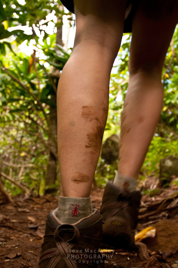 Close-up view of muddy lower legs and boots hiking on a tropical jungle trail, Northshore, Kauai, Hawaii