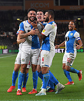 Blackburn Rovers' Derrick Williams is congratulated on scoring his team's only goal<br /> <br /> Photographer Dave Howarth/CameraSport<br /> <br /> The Premier League - Hull City v Blackburn Rovers - Tuesday August 20th 2019  - KCOM Stadium - Hull<br /> <br /> World Copyright © 2019 CameraSport. All rights reserved. 43 Linden Ave. Countesthorpe. Leicester. England. LE8 5PG - Tel: +44 (0) 116 277 4147 - admin@camerasport.com - www.camerasport.com