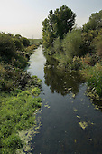 The River Lea as it passes through Tottenham Marshes, East London.