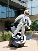 A sculpture commemorating the US space program placed at the front of the Gerald R. Ford Presidential Library and Museum in Grand Rapids, Michigan on Sunday, June 30, 2019.  The statue, requested by President Ford, is the work of Judson Nelson of New York and depicts a weightless astronaut leaving a spaceship.<br /> Credit: Ron Sachs / CNP