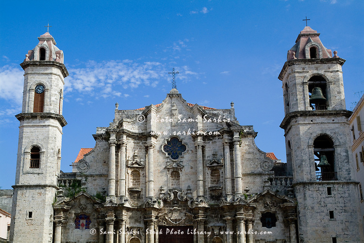 Baroque facade and asymmetrical bell towers of the Cathedral of Havana, Havana, Cuba.