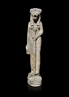 "Ancient Egyptian statue of goddess Sekhmet, grandodiorite, New Kingdom, 18th & 20thDynasty (1390-1150 BC), Thebes. Egyptian Museum, Turin. black background.<br /> <br /> Sekhmet, ""the Powerful One"" was a fearsome goddess symbolised by her lioness head. Daughter of the sun she personifies the disk of the world during the day. Sekhmet is the angry manifestation of Hathor inflicting the scourges of summer heat, famine and illness which is why the goddess needed to be exorcised every day. Drovetti Collection. C 263"