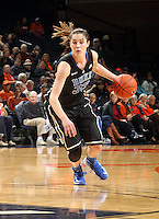 Duke guard/forward Haley Peters (33) handles the ball during an NCAA college basketball game in Charlottesville, Va. Duke defeated Virginia 62-41...
