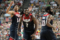 USA's Anthony Davis (l), Kenneth Faried (c) and James Harden celebrate during 2014 FIBA Basketball World Cup Quarter-Finals match.September 9,2014.(ALTERPHOTOS/Acero)