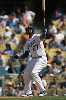 04/29/12 Los Angeles, CA:Los Angeles Dodgers center fielder Matt Kemp #27 during an MLB game between the Washington Nationals and the Los Angeles Dodgers played at Dodger Stadium. The Dodgers defeated the Nationals 2-0.