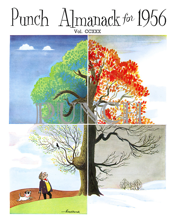 Punch Almanack for 1956. Titlepage (Punch and Toby see a tree showing all four seasons)