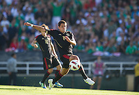 Pasadena, CA - June 25, 2011: Javier Hernandez shoots on goal, United States vs Mexico in the 2011 CONCACAF Gold Cup Championships, at the Rose Bowl. Mexico won 4-2.