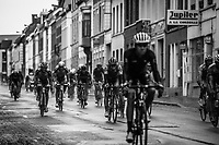 Peloton  rolling through town. <br /> <br /> 78th Euro Metropole Tour 2018<br /> La Louvi&egrave;re &ndash; Tournai (BEL): 206km
