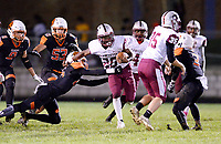 La Follette's Kavonte Shorter escapes a tackle by Verona's Reggie Sowell, as Madison La Follette takes on Verona in Wisconsin Big Eight Conference high school football on Friday, 10/4/19 at Verona High School's Curtis Jones Field