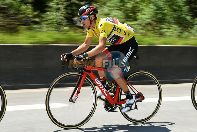 The peloton including race leader Richie Porte (AUS) BMC Racing Team during Stage 7 of the Criterium du Dauphine 2017, running 168km from Aoste to Alpe d'Huez, France. 10th June 2017. <br /> Picture: ASO/A.Broadway | Cyclefile<br /> <br /> <br /> All photos usage must carry mandatory copyright credit (&copy; Cyclefile | ASO/A.Broadway)