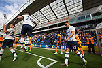 The two teams coming out from the dressing rooms before Preston North End (in white) take on Reading in an EFL Championship match at Deepdale. The home team won the match 1-0, Jordan Hughill scoring the only goal after 22nd minutes, watched by a crowd of 11,174.