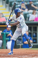 Omaha Storm Chasers center fielder Orlando Calixte (3) at bat during a game against the Oklahoma City Dodgers at Chickasaw Bricktown Ballpark on June 16, 2016 in Oklahoma City, Oklahoma. Oklahoma City defeated Omaha 5-4  (William Purnell/Four Seam Images)