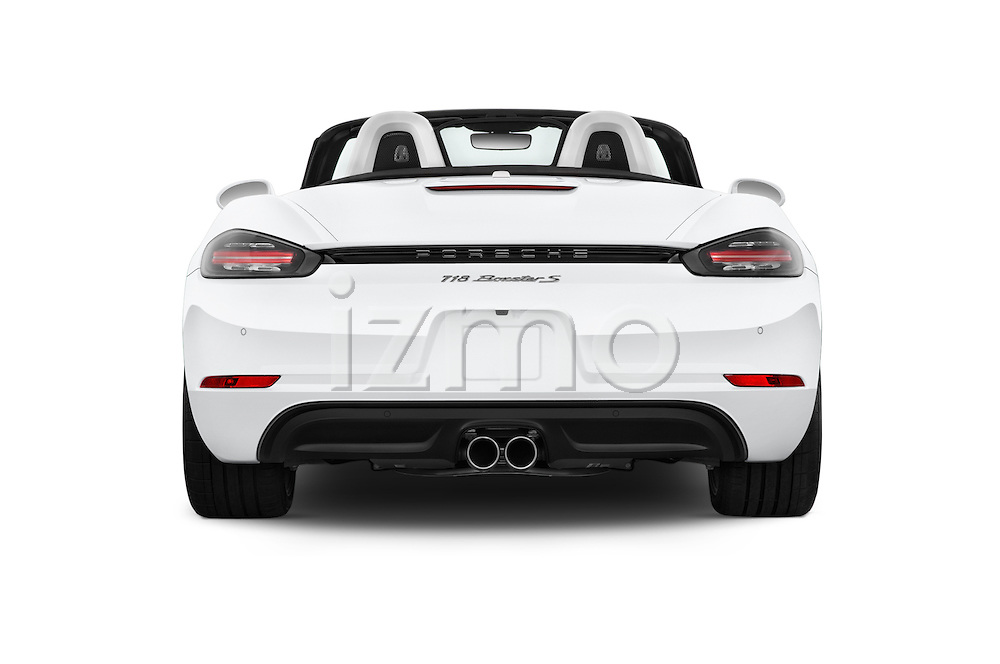 Straight rear view of 2017 Porsche 718 Boxster-S 2 Door Convertible Rear View  stock images