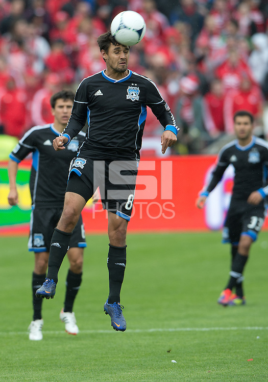 24 March 2012: San Jose Earthquakes forward Chris Wondolowski #8 in action during the first half in a game between the San Jose Earthquakes and Toronto FC at BMO Field in Toronto..