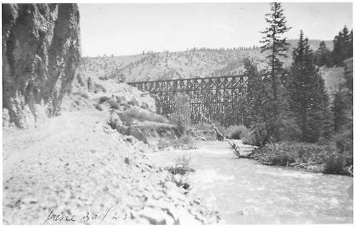 High Bridge from ground/stream level.<br /> D&amp;RG  Lake City, CO  6/30/1923