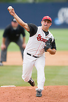 Relief pitcher Ryan Cole #10 of the St. John's Red Storm in action against the Ole Miss Rebels at the Charlottesville Regional of the 2010 College World Series at Davenport Field on June 6, 2010, in Charlottesville, Virginia.  The Red Storm defeated the Rebels 20-16.  Photo by Brian Westerholt / Four Seam Images