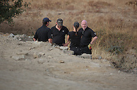 Pictured: Detective Inspector Jon Cousins (L) joins forensic archaeologists at the second site in Kos, Greece. Wednesday 12 October 2016<br /> Re: Police teams led by South Yorkshire Police are searching for missing toddler Ben Needham on the Greek island of Kos.<br /> Ben, from Sheffield, was 21 months old when he disappeared on 24 July 1991 during a family holiday.<br /> Digging has begun at a new site after a fresh line of inquiry suggested he could have been crushed by a digger.
