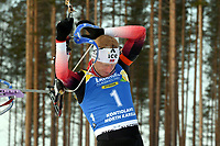 March 14th 2020, Kontiolahti, Finland;   Johannes Thingnes Boe of Norway warms up ahead of the mens 12.5km Pursuit competition at the IBU Biathlon World Cup in Kontiolahti, Finland, on March 14th