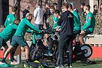 07.01.2020, Sportzentrum RCD Mallorca, Son Bibiloni, ESP, TL Werder Bremen -  Training Tag 02<br /> <br /> im Bild / picture shows <br /> Dehnuebungen / Gymnastik EGO Rad der Spieler nach dem  Freundschaftspiel<br /> Ludwig Augustinsson (Werder Bremen #05)<br /> Claudio Pizarro (Werder Bremen #14)<br /> Maximilian Eggestein (Werder Bremen #35)<br /> Christian Groß / Gross (Werder Bremen #36)<br /> <br /> Foto © nordphoto / Kokenge