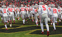Ohio State takes the field. The Ohio State Buckeyes defeated the Purdue Boilermakers 56-0 at Ross-Ade Stadium, West Lafayette, Indiana on November2, 2013.