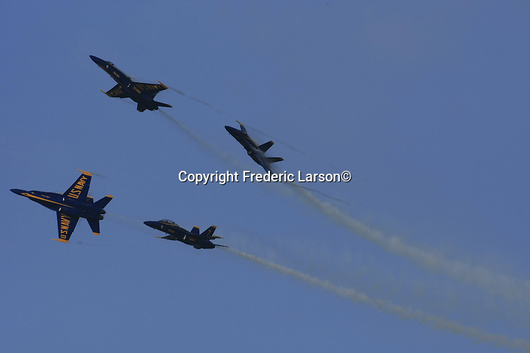 The Navy Blue Angels  to do acrobatic stunts over San Francisco's Bay during Fleet week in San Francisco, California.