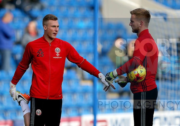 Simon Moore and George Long of Sheffield Utd during the English League One match at the Proact Stadium, Chesterfield. Picture date: November 13th, 2016. Pic Simon Bellis/Sportimage