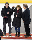 Raymond and Linda Davis, parents of Boston College's Lisa Davis, with Joe Bertagna - The Boston College Eagles defeated the Harvard University Crimson 3-1 to win the 2011 Beanpot championship on Tuesday, February 15, 2011, at Conte Forum in Chestnut Hill, Massachusetts.