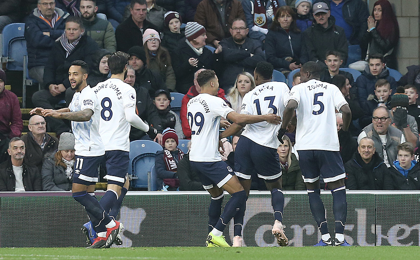 Everton's Yerry Mina celebrates with team-mates after scoring the opening goal<br /> <br /> Photographer Rich Linley/CameraSport<br /> <br /> The Premier League - Burnley v Everton - Wednesday 26th December 2018 - Turf Moor - Burnley<br /> <br /> World Copyright © 2018 CameraSport. All rights reserved. 43 Linden Ave. Countesthorpe. Leicester. England. LE8 5PG - Tel: +44 (0) 116 277 4147 - admin@camerasport.com - www.camerasport.com