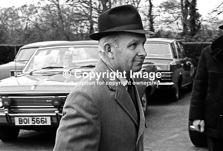 Brian Faulkner, MP, Ulster Unionist, N Ireland Minister of Commerce, arriving at Parliament Buildings, Stormont, Belfast, 20th March 1971 to attend leadership crisis cabinet meeting. 197102200175a<br />