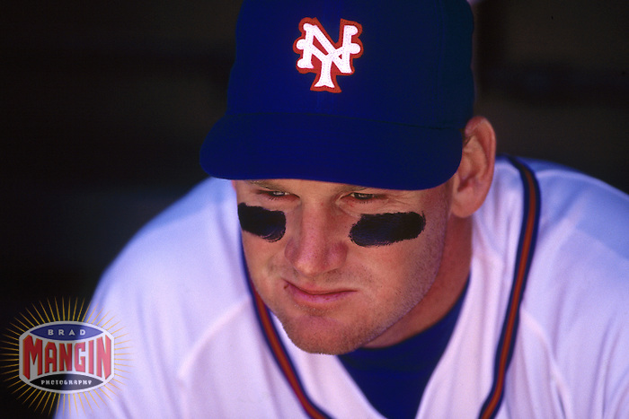 SAN FRANCISCO, CA - Portrait of Matt Williams of the San Francisco Giants in the dugout during a turn back the clock day game against the Philadelphia Phillies at Candlestick Park in San Francisco, California in 1992. Photo by Brad Mangin