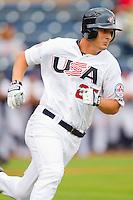Alex Dickerson #25 of Team USA hustles down the first base line against Team Korea at Durham Bulls Athletic Park July 18, 2010, in Durham, North Carolina.  Photo by Brian Westerholt / Four Seam Images