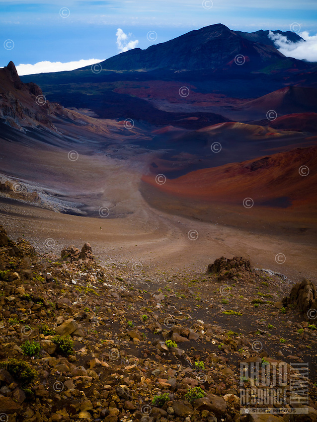 A view into the Haleakala Crater as seen from the Haleakala Visitor Center, Maui.