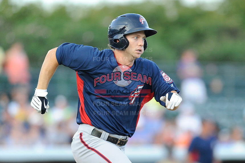 Second baseman Cutter Dykstra (15) of the Potomac Nationals in a game against the Myrtle Beach Pelicans on Friday, August 9, 2013, at TicketReturn.com Field in Myrtle Beach, South Carolina. Myrtle Beach won, 3-2. (Tom Priddy/Four Seam Images)