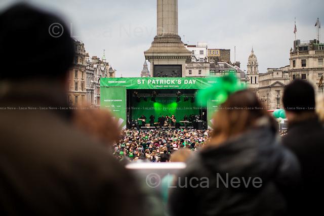 London, 15/03/2015. Annual St Patrick's Day celebrations in Trafalgar Square.