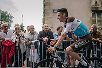 Romain Bardet (FRA/AG2R-LaMondiale) sweeping by at the Team presentation in La Roche-sur-Yon<br /> <br /> Le Grand D&eacute;part 2018<br /> 105th Tour de France 2018<br /> &copy;kramon