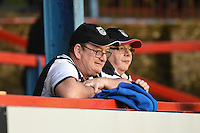 Grimsby Town fans watch the action during the Vanarama National League match between Aldershot Town and Grimsby Town at the EBB Stadium, Aldershot, England on 5 April 2016. Photo by Paul Paxford / PRiME Media Images.
