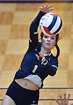 Althof player Katie Wemhoener hits the ball over to Minooka. Althoff lost to Minooka in the championship game of the O'Fallon Class 4A volleyball sectional at O'Fallon HS in O'Fallon, IL on November 6, 2019.<br /> Tim Vizer/Special to STLhighschoolsports.com