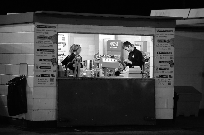 The catering staff wait for customers <br /> <br /> (Photo by Chris Vaughan/CameraSport)<br /> <br /> Football - The Skrill Premier - Lincoln City v Tamworth - Tuesady 8th October 2013 - Gelder Group Sincil Bank Stadium - Lincoln<br /> <br /> &copy; CameraSport - 43 Linden Ave. Countesthorpe. Leicester. England. LE8 5PG - Tel: +44 (0) 116 277 4147 - admin@camerasport.com - www.camerasport.com