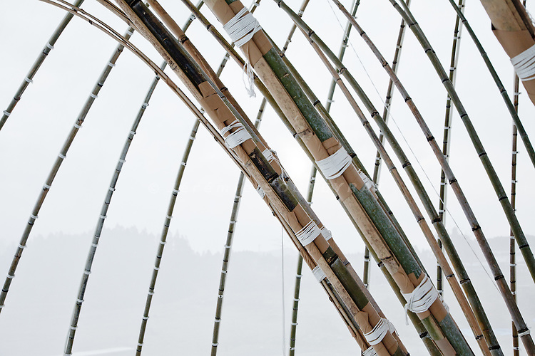"""Kesennuma, December 6 2011 - """"Ark of bamboo"""" (take no kaisho) by Toki lab. (University o Shiga), a structure made of bamboos for people to gather in the devasted area."""