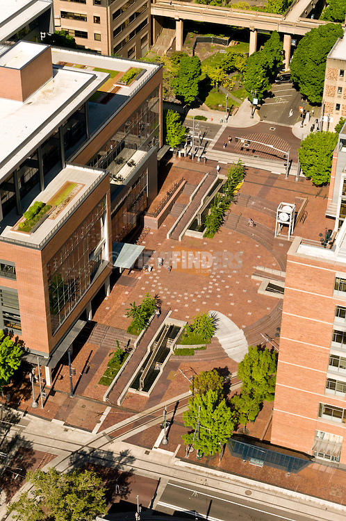 Aerial view looking down at the Portland State University urban plaza in Portland, OR.