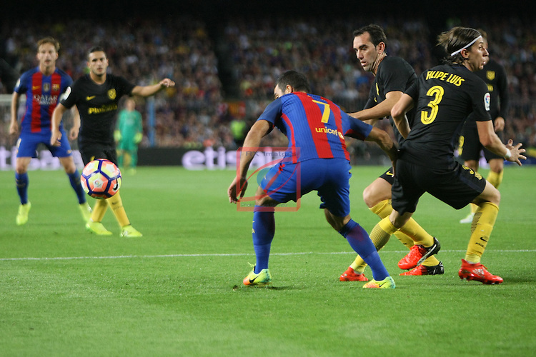 League Santander 2016/2017. Game: 5.<br /> FC Barcelona vs Atletico de Madrid: 1-1.<br /> Arda Turan, Godin &amp; Filipe Luis.