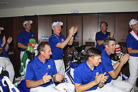 Team Captain Thomas Bjorn speaks to the team after winning the Eurasia Cup at Glenmarie Golf and Country Club on the Sunday 14th January 2018.<br /> Picture:  Thos Caffrey / www.golffile.ie