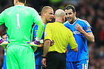 John O'Shea of Sunderland signals to the referee that he should be red carded for the foul on Radamel Falcao of Manchester United - Manchester United vs. Sunderland - Barclay's Premier League - Old Trafford - Manchester - 28/02/2015 Pic Philip Oldham/Sportimage