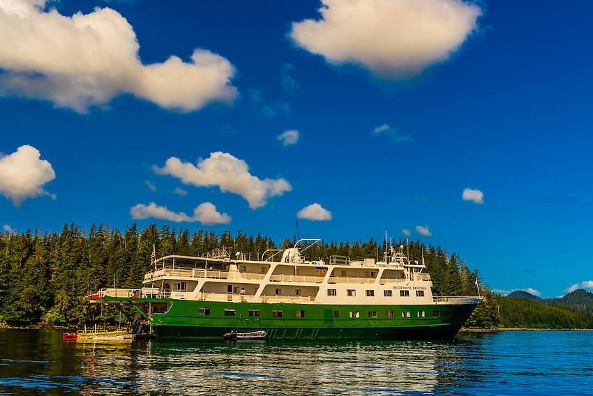 Wilderness Explorer (small cruise ship), Magoun Islands State Marine Park, Krestof Sound,  Inside Passage, Southeast Alaska USA.