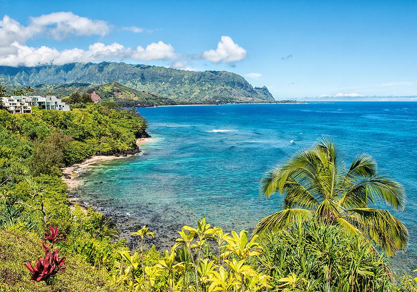 View of Bali Hai (Mount Makana) from Pali Ke Kua, north shore of Kauai