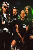 Pantera - L-R: Rex Brown, Vinnie Paul, Phil Anselmo, 'Dimebag' Darrell Abbott - photosession in London UK - 1991.  Photo credit: Ray Palmer Archive/IconicPix