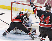 NU ?, Cory Schneider, Steve Birnstill, Nathan Gerbe - The Boston College Eagles defeated Northeastern University Huskies 5-3 on Saturday, November 19, 2005, at Kelley Rink in Conte Forum at Chestnut Hill, MA.
