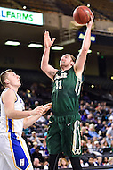 Baltimore, MD - William & Mary Tribe forward Sean Sheldon (31) shoots a hook shot over Hofstra Pride forward Rokas Gustys (11) during the CAA Basketball Tournament at the Royal Farms Arena in Baltimore, Maryland on March 6, 2016.  (Photo by Philip Peters/Media Images International)